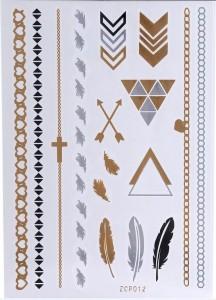 Golden Tattoo removível. Desenhos em dourado, prateado e preto. Duração de 4-6 dias. Atóxico Fácil aplicação, com esponja ou toalha úmida, podendo remover a qualquer momento com óleo de bebê.